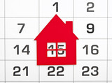shape red house on a calendar background