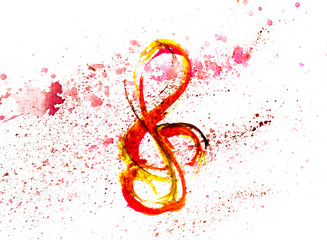 treble clef in red and yellow spot  blotch watercolors isolated