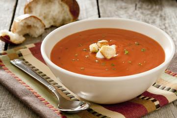 Closeup of a bowl of tomato soup.