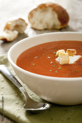 Closeup of tomato soup.