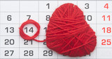 Calendar, by February 14 and shape red heart.