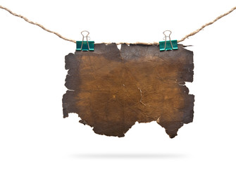 blank burning paper card hanging on the rope,