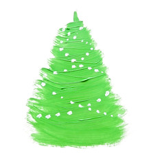 Colorful hand drawing green Christmas tree on white paper