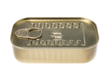 Canned fish in a tin can. On a white background, close-up.