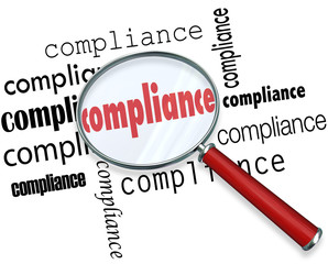 Compliance Words Magnifying Glass Rules Regulations