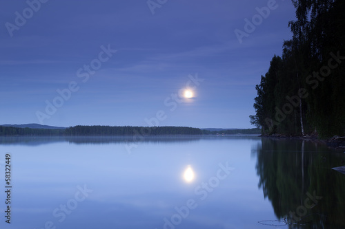 Moonshine over Swedish lake Vasman