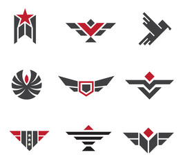 Army and military badges and strength logo symbols