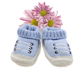 Blu boy shoes with flowers