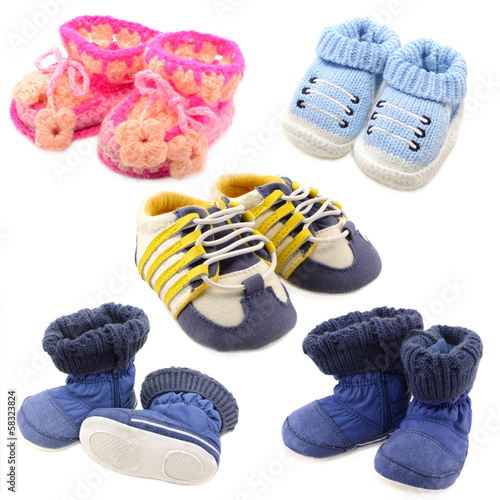 Baby shoes set isolated