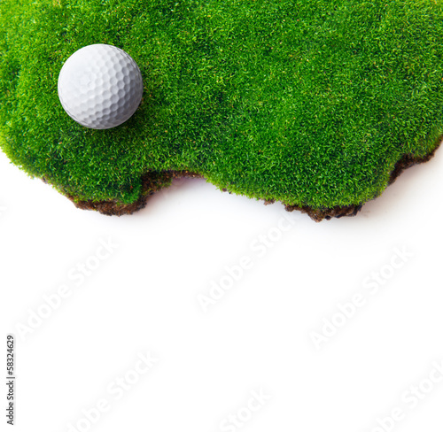 Golf ball on green grass field.