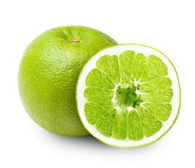 Green orange fruit isolated on white background