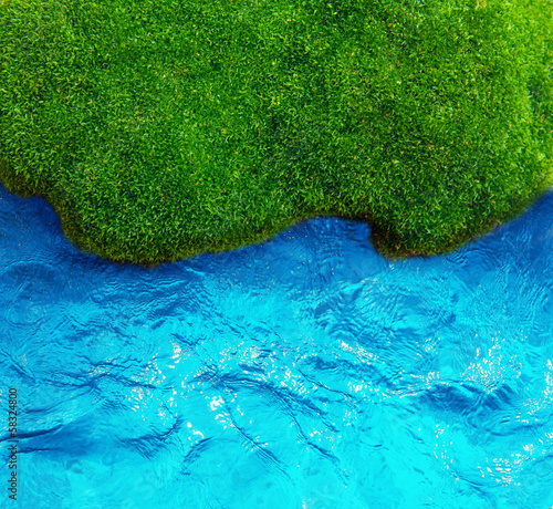 Green grass and sea pattern background.