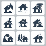 Vector property insurance icons set