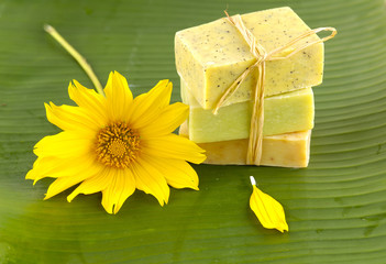 Stacked natural soaps on banana leaf
