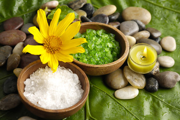 spa supplies with flower . salt in bowl ,stones,candle