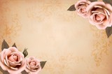 Fototapety Pink roses on a vintage old paper background. Vector.