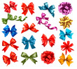 Big collection of color gift bows with ribbons. Vector illustrat