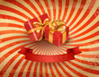 Vintage holiday background with two red gift boxes. Vector illus
