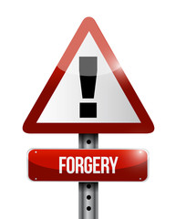 forgery warning road sign illustration design