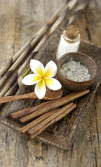 cinnamon, frangipani salt in bowl on driftwood