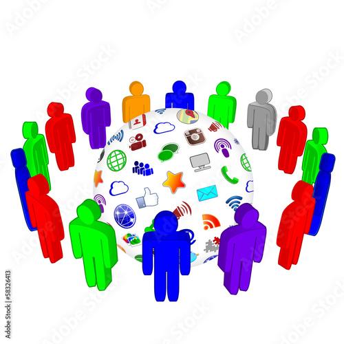 Social Media Network Global Teamwork