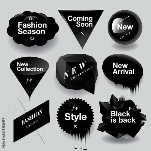 ?Fashion sale speech bubbles set, vector illustration.