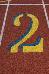 Red Running Track Lane Number 2