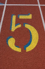 Red Running Track Lane Number 5