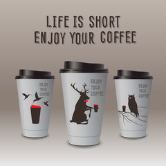Take-out coffee in thermo cup, vector Eps10 image.