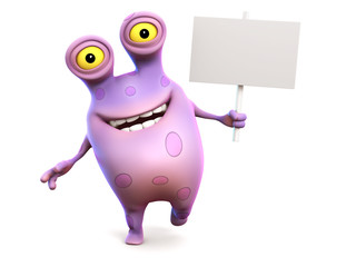A pink spotted monster holding sign.