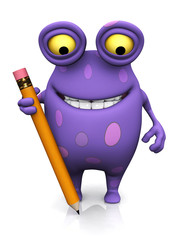 A spotted monster holding a large pencil.