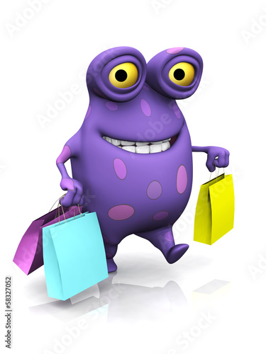 A spotted monster carrying shopping bags.