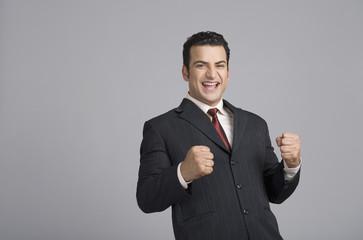 Businessman looking excited