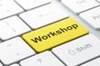 Education concept: Workshop on computer keyboard background