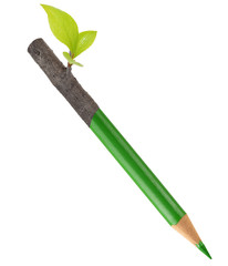 Eco green pencil with leaf