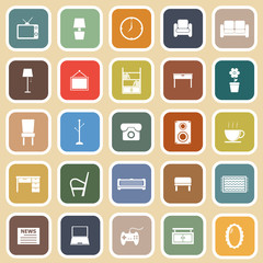 Living room flat icons on light background