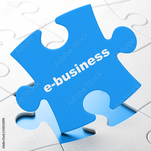 Business concept: E-business on puzzle background