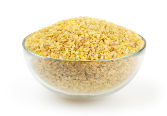 Bulgur isolated on white background with clipping path