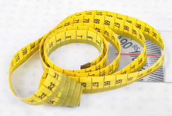 Measuring tape on scales