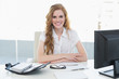Smiling businesswoman with computer in office