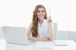 Beautiful businesswoman with laptop pointing upwards