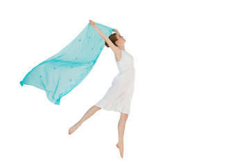 Young beautiful female dancer with blue scarf