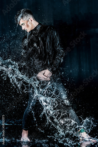 Liquid Man Fashion Photoset. Stop Water Splash on hair.