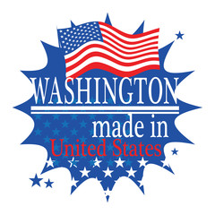 Label with flag and text Made in Washington, vector
