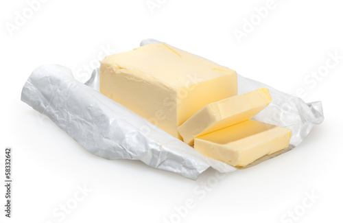 Butter isolated on white background with clipping path - 58332642