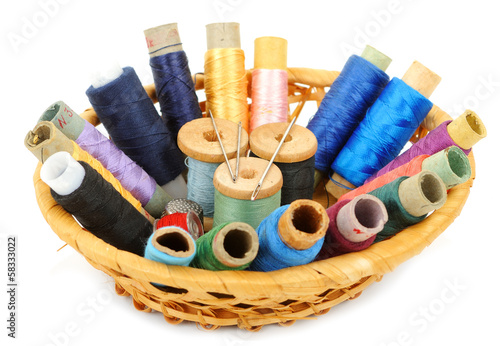 Sewing kit in a basket