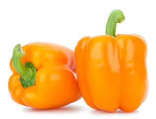 orange peppers isolated on white background closeup