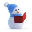 Snowman reads a book