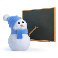 Snowman at the blackboard