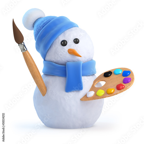 Snowman takes art lessons